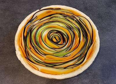 tarte légumes en spirale au peche gourmand avant cuisson